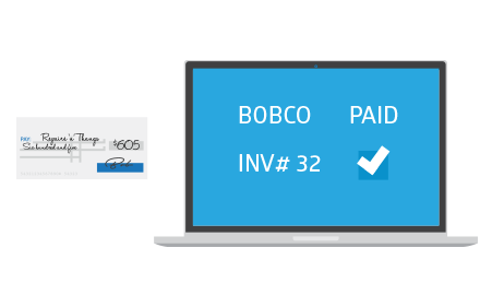 Laptop displaying a paid invoice
