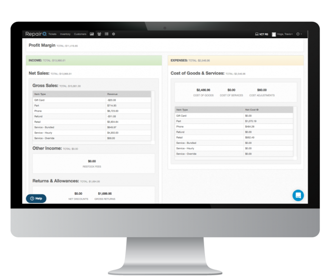 Screenshot of the RepairQ business management dashboard