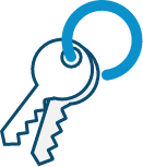 Keys icon on a blue key chain