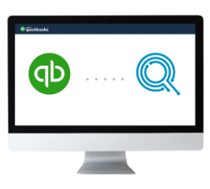 Quickbooks logo and RepairQ logo in a monitor to represent their integration