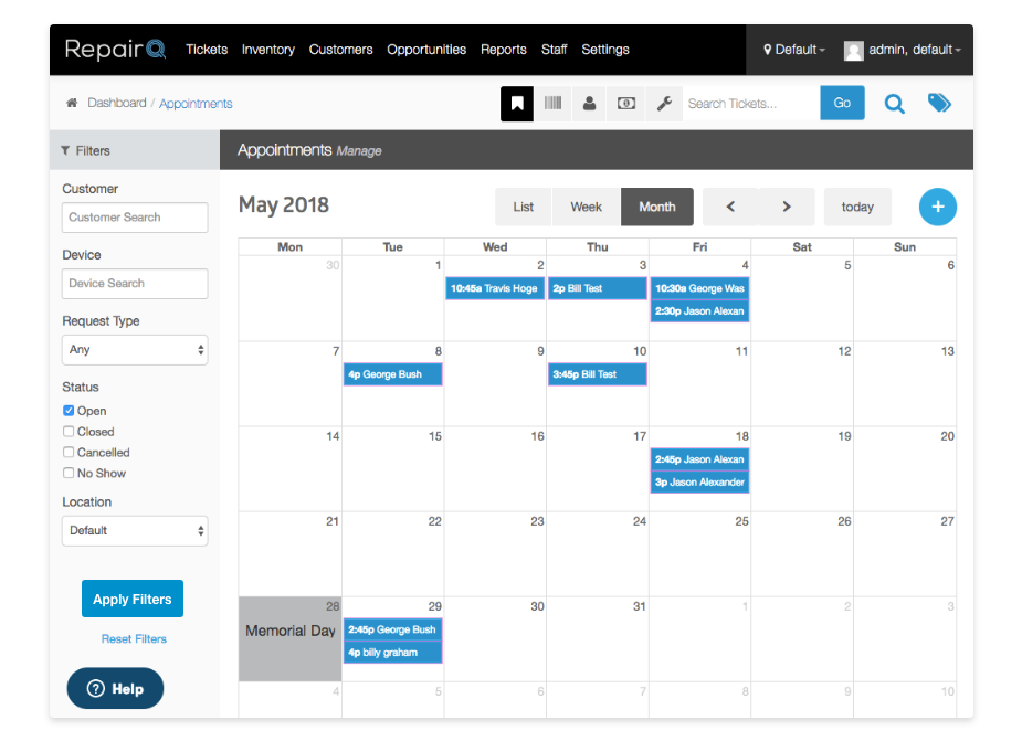 Screenshot of RepairQ's in-app appointment scheduling