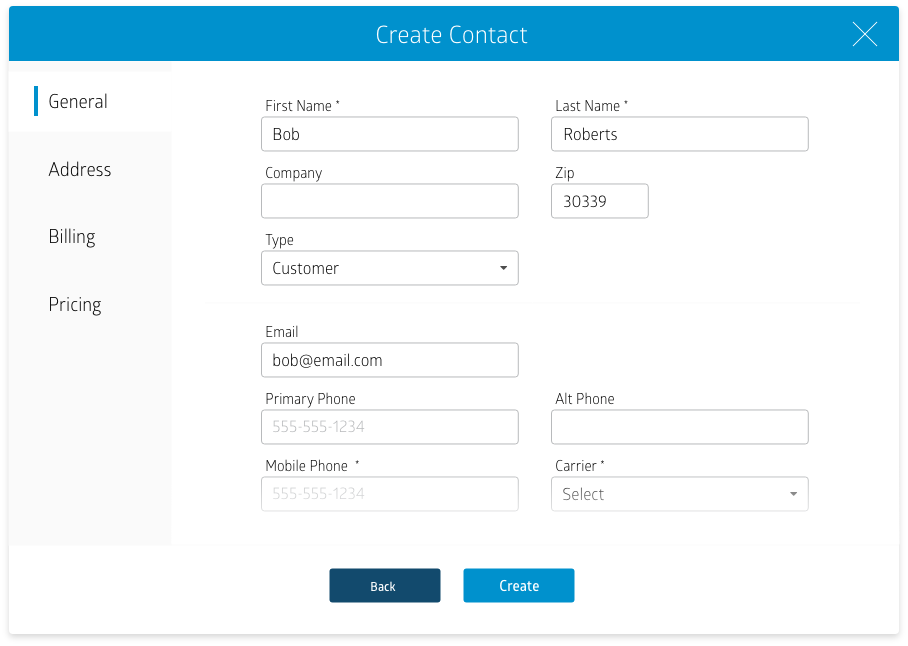 "Screenshot of RepairQ's ""Create Contact"" screen"