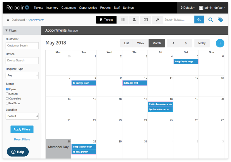 Screenshot of the RepairQ appointments calendar feature