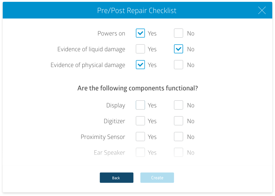 Screenshot of RepairQ's device repair checklist