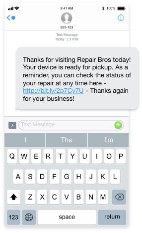 screenshot of a repair status text sent to a customer