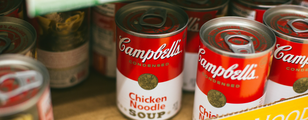 Donated cans of Campbell soup