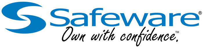The Safeware logo and tagline, Own with confidence.