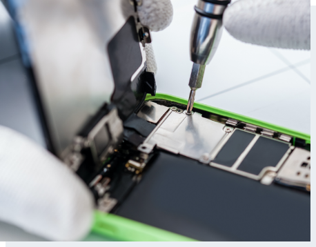 Close-up photo showing process of mobile phone repair