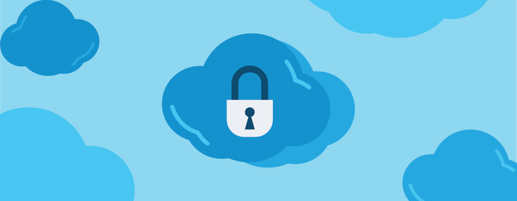Graphic of clouds and a padlock.