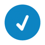 Icon of a white check mark on a blue background
