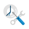 Clock and wrench and screwdriver icon